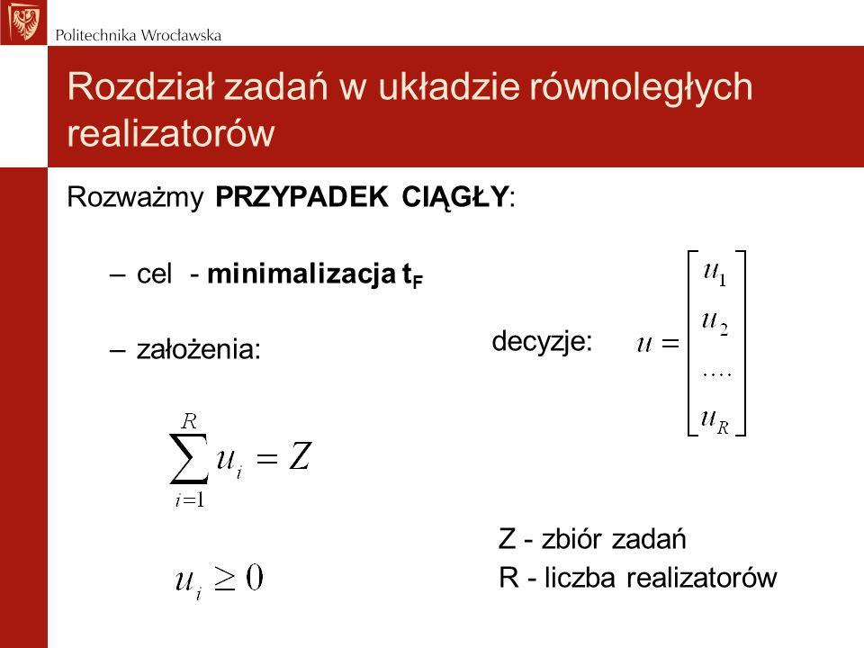 Rozważmy PRZYPADEK CIĄGŁY: –cel - minimalizacja t F –założenia: Z - zbiór zadań R - liczba realizatorów Rozdział zadań w układzie równoległych realiza