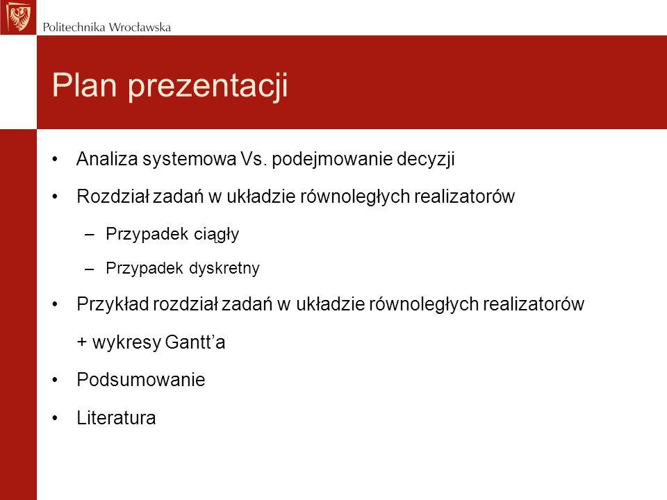 Plan prezentacji Analiza systemowa Vs. podejmowanie decyzji Rozdział zadań w układzie równoległych realizatorów –Przypadek ciągły –Przypadek dyskretny