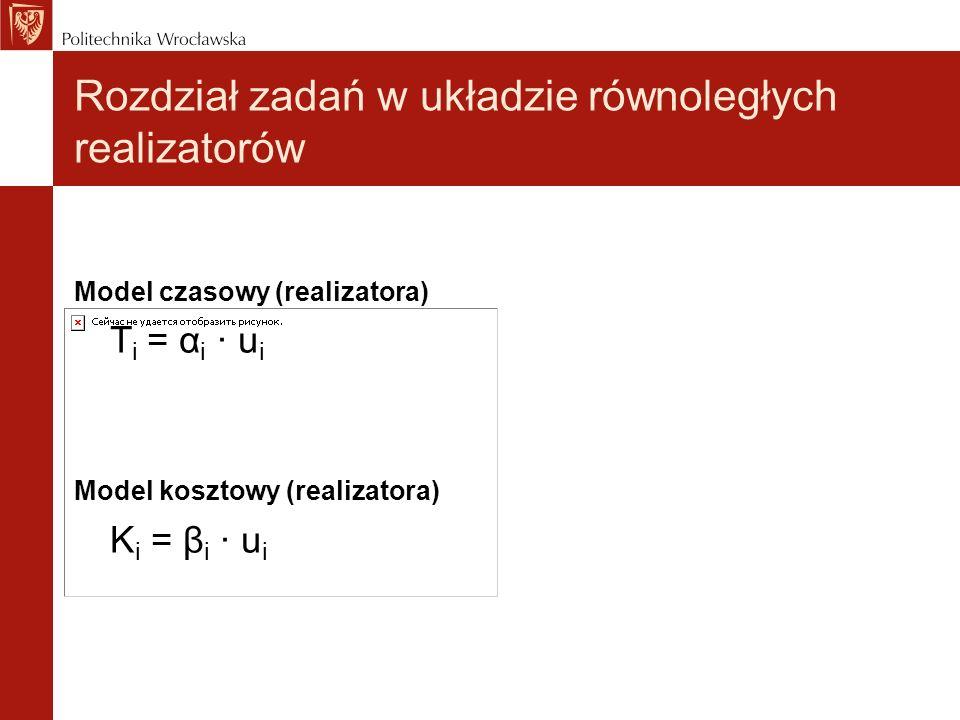 Model czasowy (realizatora) T i = α i · u i Model kosztowy (realizatora) K i = β i · u i Rozdział zadań w układzie równoległych realizatorów