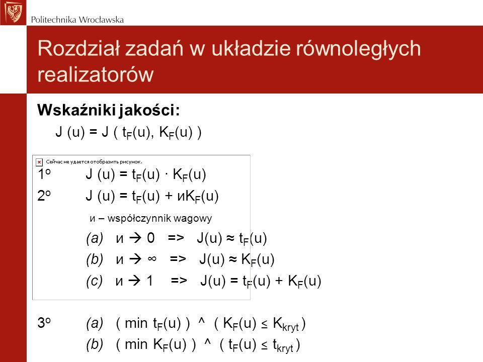 Wskaźniki jakości: J (u) = J ( t F (u), K F (u) ) 1 o J (u) = t F (u) · K F (u) 2 o J (u) = t F (u) + иK F (u) и – współczynnik wagowy (a) и 0 => J(u)