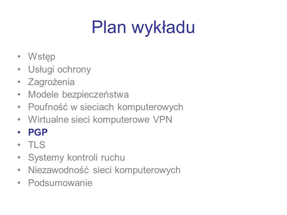 Plan wykładu Wstęp Usługi ochrony Zagrożenia Modele bezpieczeństwa Poufność w sieciach komputerowych Wirtualne sieci komputerowe VPN PGP TLS Systemy k