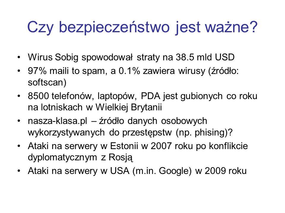 Czy bezpieczeństwo jest ważne? Wirus Sobig spowodował straty na 38.5 mld USD 97% maili to spam, a 0.1% zawiera wirusy (źródło: softscan) 8500 telefonó