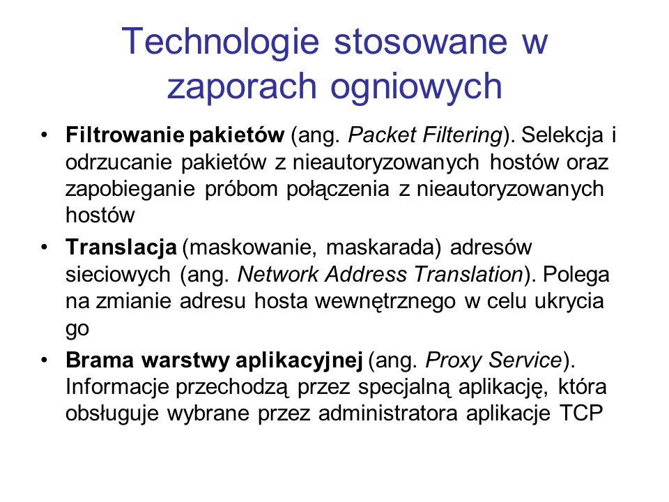Technologie stosowane w zaporach ogniowych Filtrowanie pakietów (ang. Packet Filtering). Selekcja i odrzucanie pakietów z nieautoryzowanych hostów ora