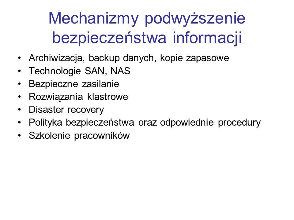 Mechanizmy podwyższenie bezpieczeństwa informacji Archiwizacja, backup danych, kopie zapasowe Technologie SAN, NAS Bezpieczne zasilanie Rozwiązania kl
