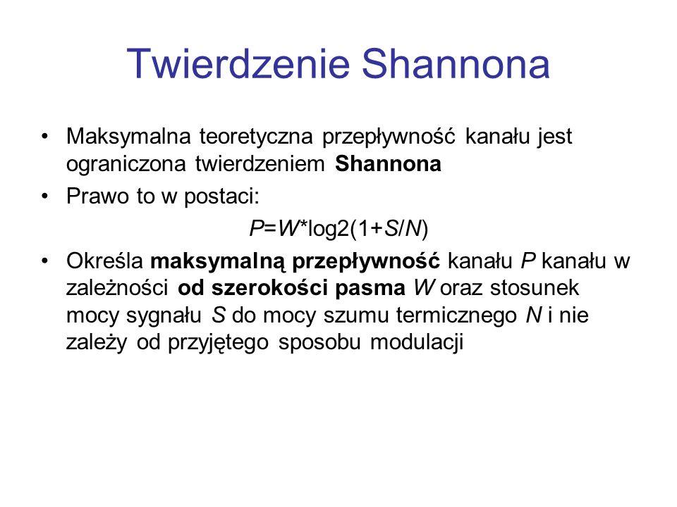 Twierdzenie Shannona Maksymalna teoretyczna przepływność kanału jest ograniczona twierdzeniem Shannona Prawo to w postaci: P=W*log2(1+S/N) Określa mak