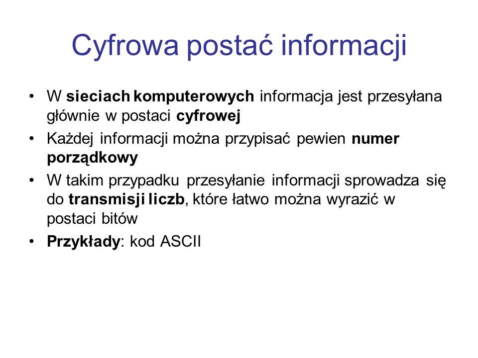 Cyfrowa postać informacji W sieciach komputerowych informacja jest przesyłana głównie w postaci cyfrowej Każdej informacji można przypisać pewien nume