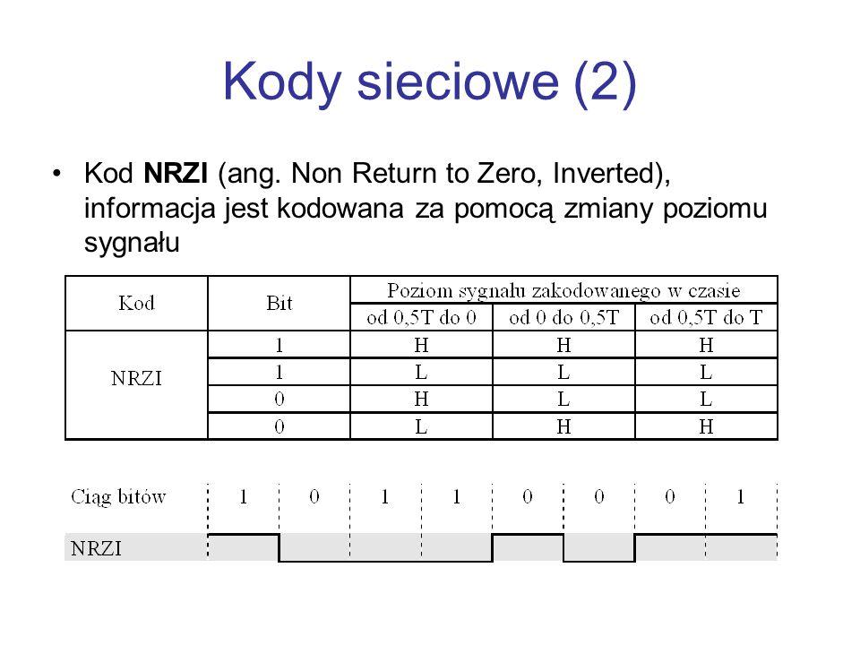Kody sieciowe (2) Kod NRZI (ang. Non Return to Zero, Inverted), informacja jest kodowana za pomocą zmiany poziomu sygnału