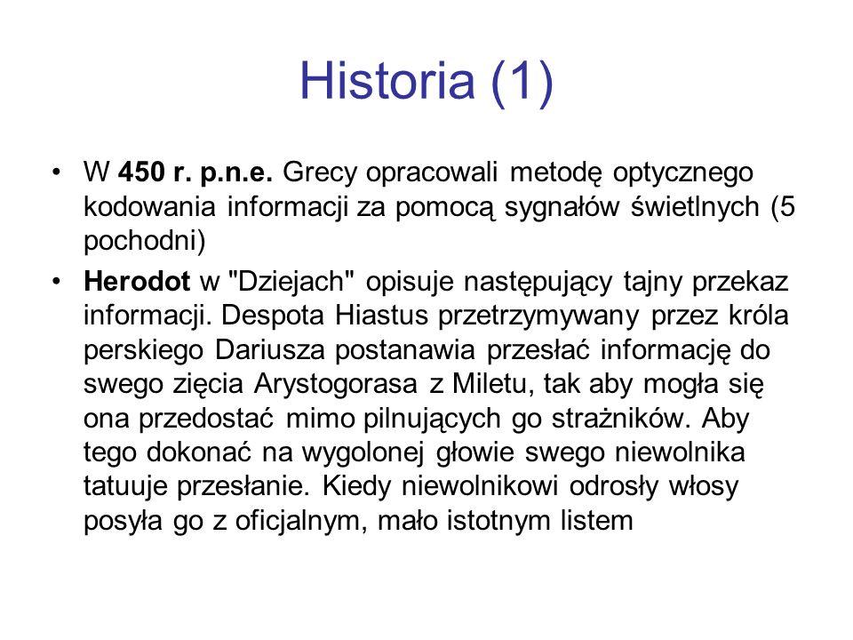 Historia (1) W 450 r. p.n.e. Grecy opracowali metodę optycznego kodowania informacji za pomocą sygnałów świetlnych (5 pochodni) Herodot w