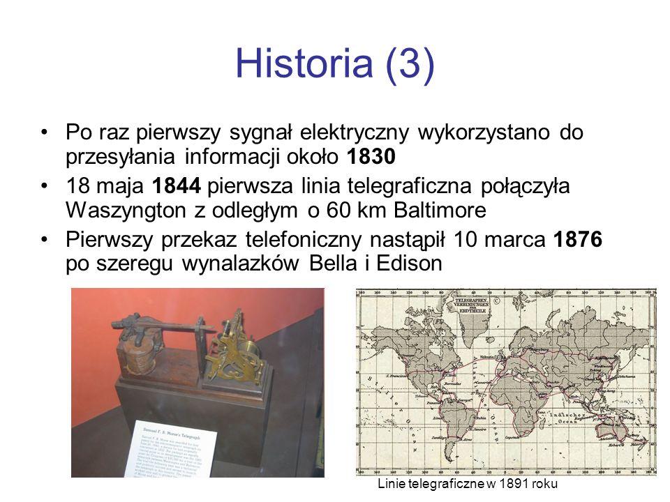 Historia (3) Po raz pierwszy sygnał elektryczny wykorzystano do przesyłania informacji około 1830 18 maja 1844 pierwsza linia telegraficzna połączyła