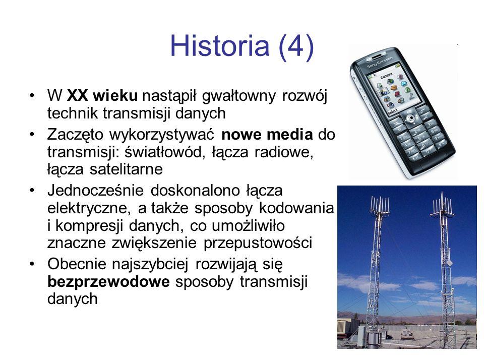Historia (4) W XX wieku nastąpił gwałtowny rozwój technik transmisji danych Zaczęto wykorzystywać nowe media do transmisji: światłowód, łącza radiowe,