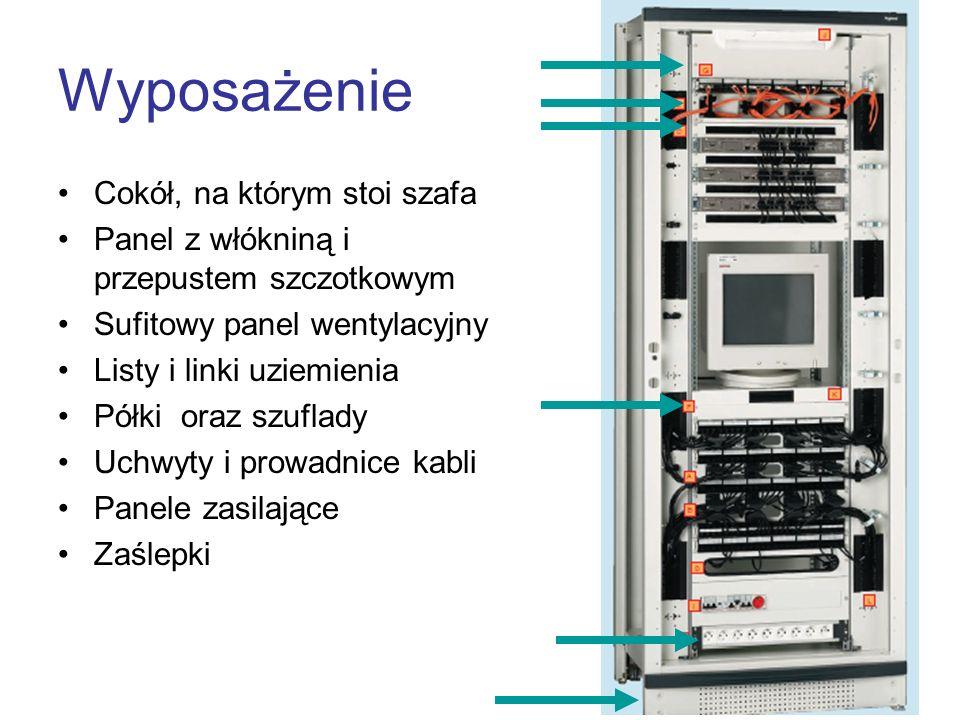Wyposażenie Cokół, na którym stoi szafa Panel z włókniną i przepustem szczotkowym Sufitowy panel wentylacyjny Listy i linki uziemienia Półki oraz szuf