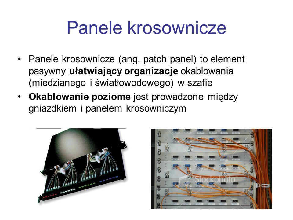 Panele krosownicze Panele krosownicze (ang. patch panel) to element pasywny ułatwiający organizacje okablowania (miedzianego i światłowodowego) w szaf