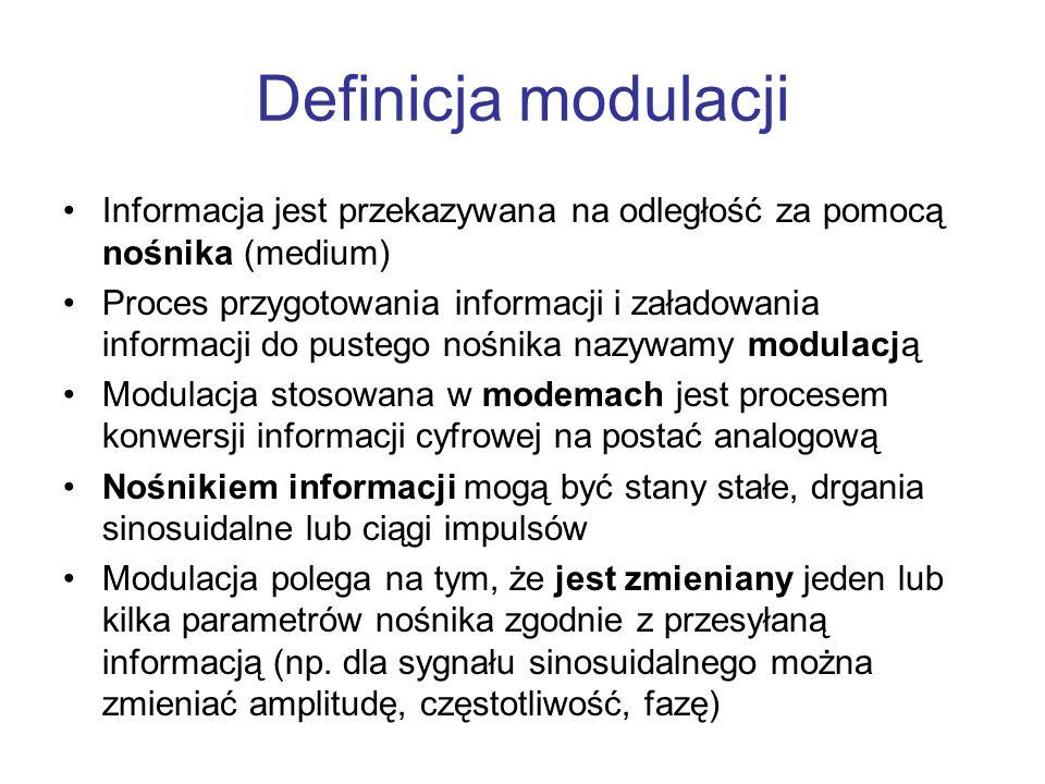 Definicja modulacji Informacja jest przekazywana na odległość za pomocą nośnika (medium) Proces przygotowania informacji i załadowania informacji do p