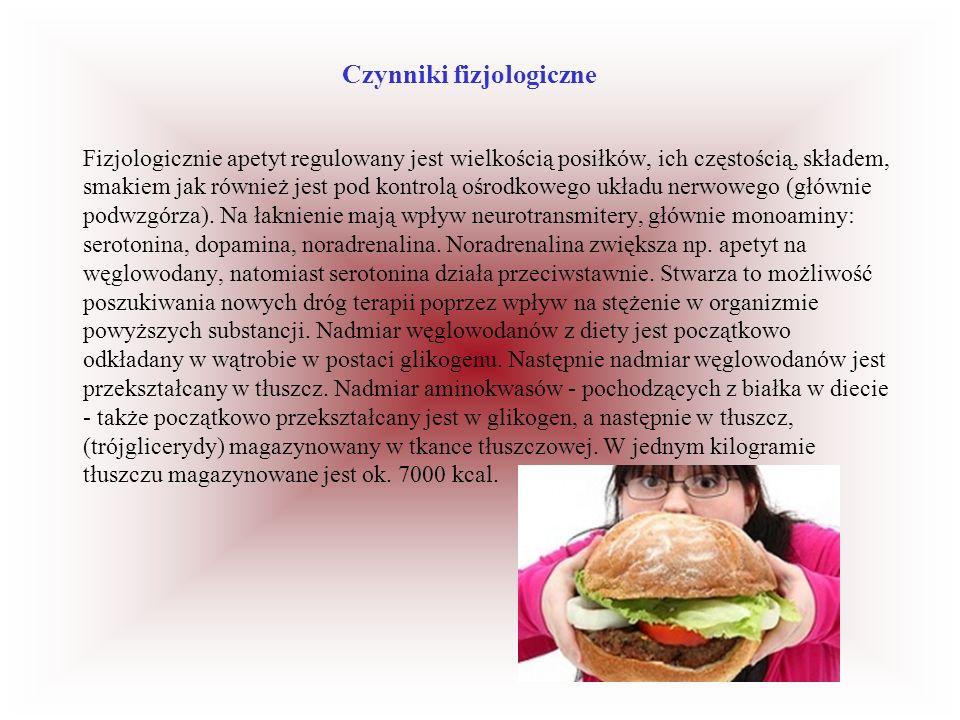 Czynniki fizjologiczne Fizjologicznie apetyt regulowany jest wielkością posiłków, ich częstością, składem, smakiem jak również jest pod kontrolą ośrod