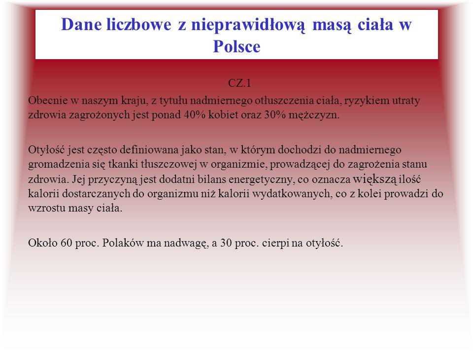 Dane liczbowe z nieprawidłową masą ciała w Polsce CZ.1 Obecnie w naszym kraju, z tytułu nadmiernego otłuszczenia ciała, ryzykiem utraty zdrowia zagroż
