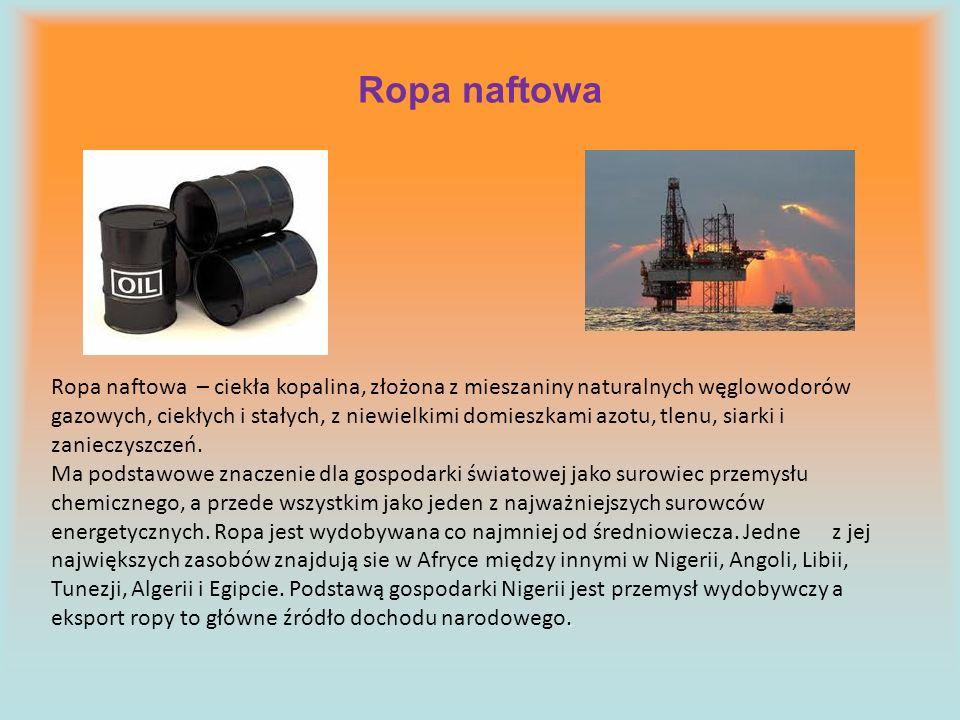Ropa naftowa Ropa naftowa – ciekła kopalina, złożona z mieszaniny naturalnych węglowodorów gazowych, ciekłych i stałych, z niewielkimi domieszkami azo