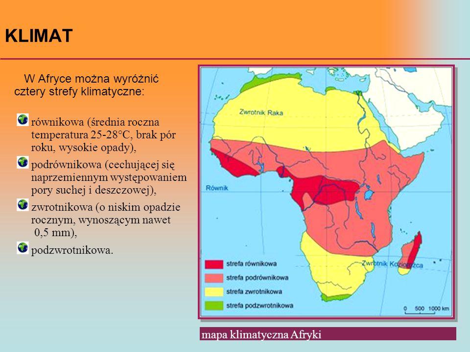 KLIMAT W Afryce można wyróżnić cztery strefy klimatyczne: mapa klimatyczna Afryki równikowa (średnia roczna temperatura 25-28°C, brak pór roku, wysoki