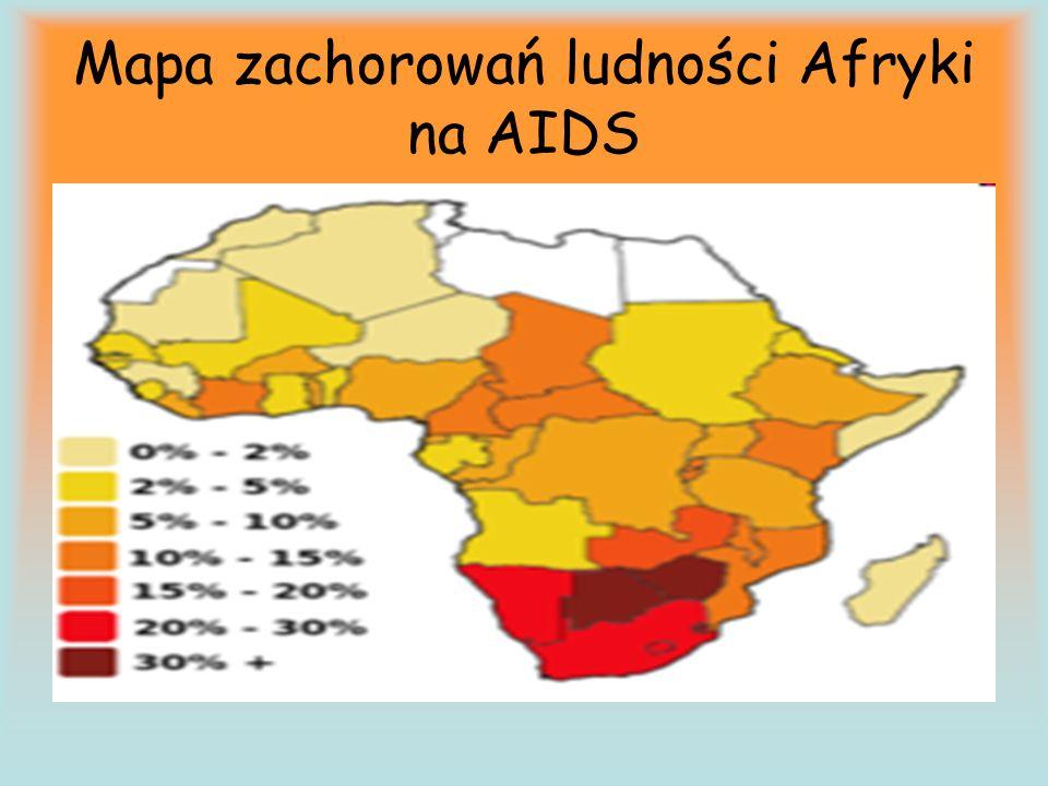 Mapa zachorowań ludności Afryki na AIDS