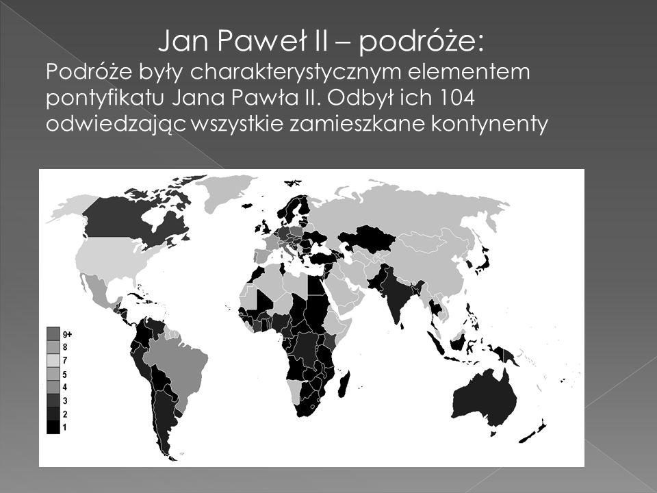Jan Paweł II – podróże: Podróże były charakterystycznym elementem pontyfikatu Jana Pawła II. Odbył ich 104 odwiedzając wszystkie zamieszkane kontynent