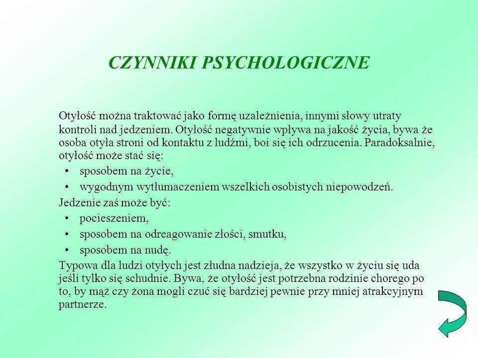 CZYNNIKI PSYCHOLOGICZNE Otyłość można traktować jako formę uzależnienia, innymi słowy utraty kontroli nad jedzeniem. Otyłość negatywnie wpływa na jako