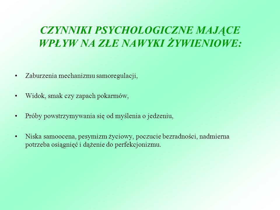 CZYNNIKI PSYCHOLOGICZNE MAJĄCE WPŁYW NA ZŁE NAWYKI ŻYWIENIOWE: Zaburzenia mechanizmu samoregulacji, Widok, smak czy zapach pokarmów, Próby powstrzymyw