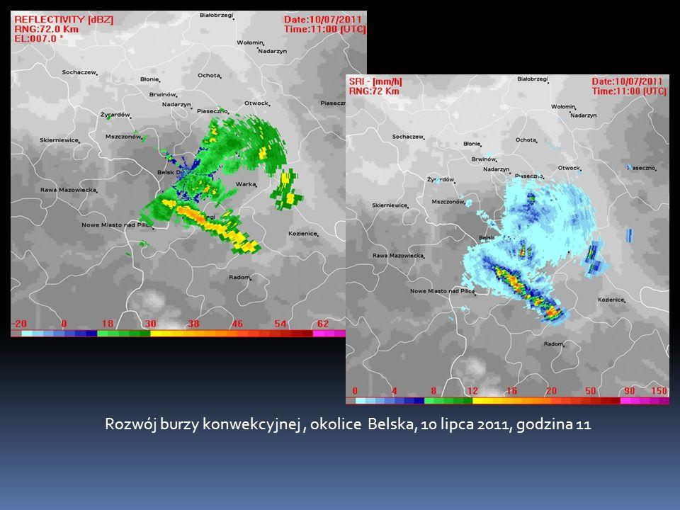 Rozwój burzy konwekcyjnej, okolice Belska, 10 lipca 2011, godzina 11
