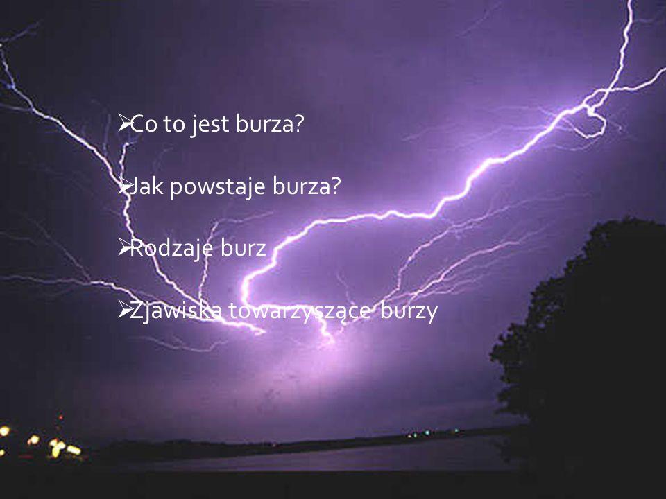 BURZA to zjawisko zaburzenia równowagi atmosferycznej, przejawiające się obfitymi opadami, silnym wiatrem oraz często połączone z wyładowaniami elektrycznymi w postaci błyskawic i grzmotów.
