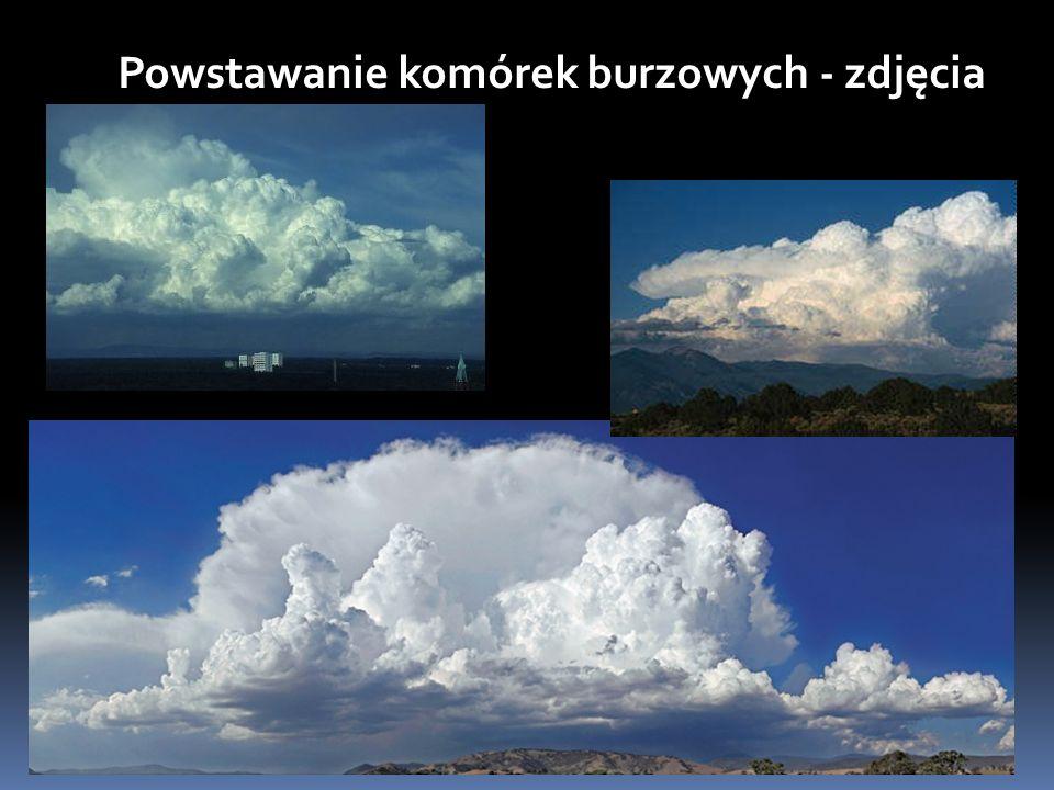 FAZA DOJRZAŁA Z mieszaniny przechłodzonych kropelek wody i kryształków lodu w środkowych warstwach chmury mogą tworzyć się krople deszczu i z chmury zaczyna padać deszcz lub grad.