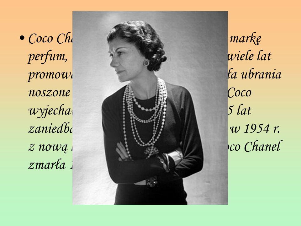 Coco Chanel stworzyła swoją własną markę perfum, Chanel No. 5 w 1922. Przez wiele lat promowała nowe trendy i projektowała ubrania noszone na całym św