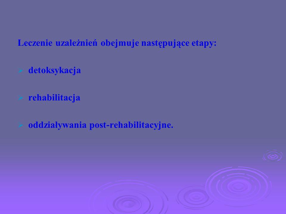 Leczenie uzależnień obejmuje następujące etapy: detoksykacja rehabilitacja oddziaływania post-rehabilitacyjne.