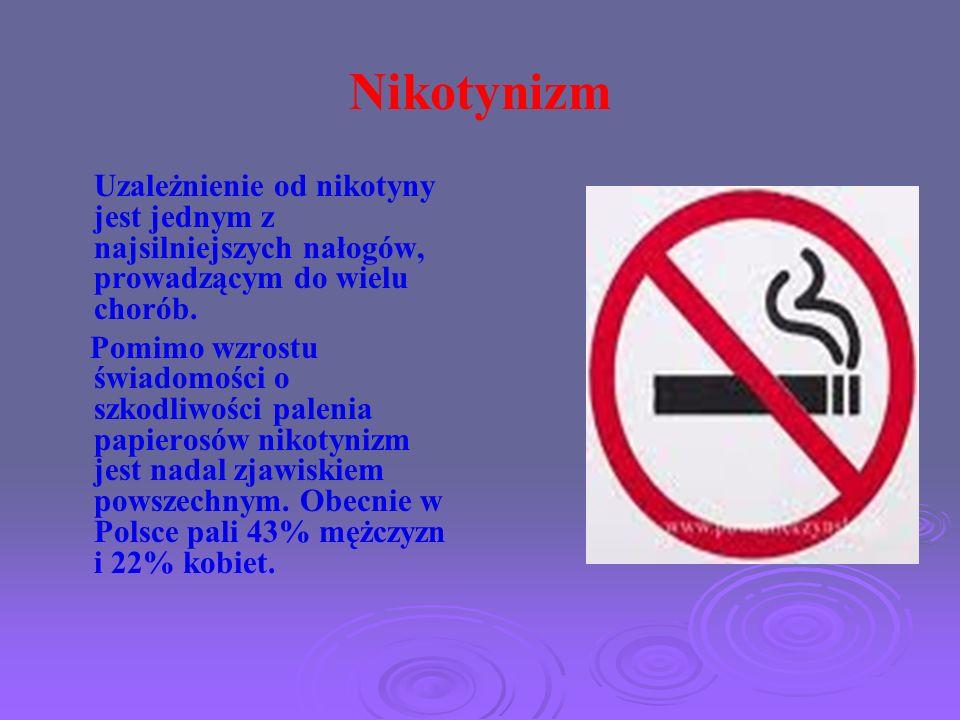 Nikotynizm Uzależnienie od nikotyny jest jednym z najsilniejszych nałogów, prowadzącym do wielu chorób. Pomimo wzrostu świadomości o szkodliwości pale