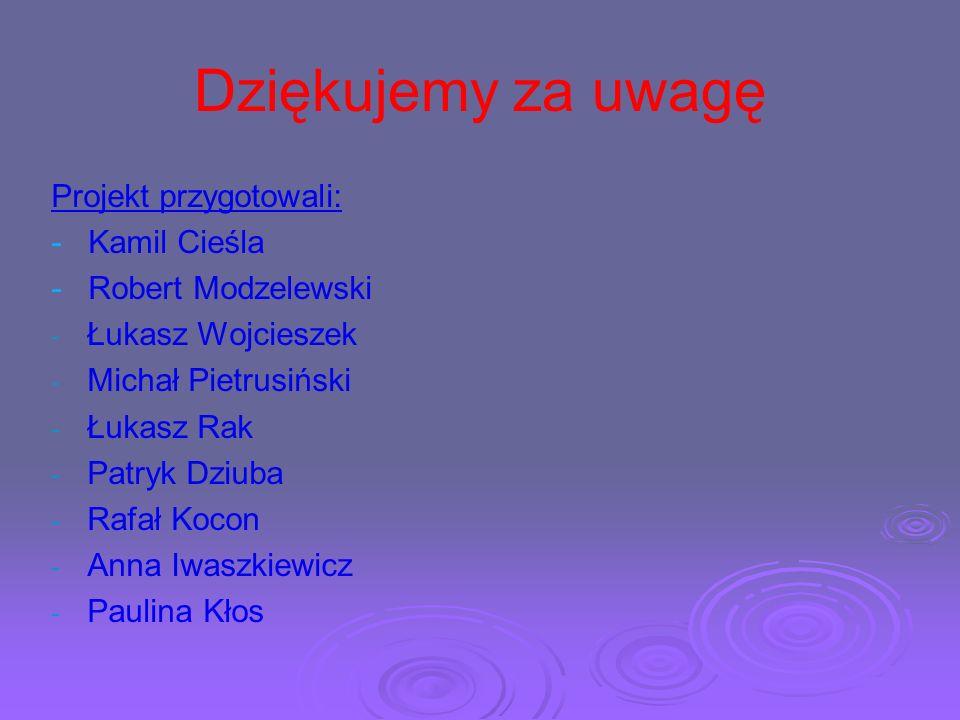 Dziękujemy za uwagę Projekt przygotowali: - Kamil Cieśla - Robert Modzelewski - - Łukasz Wojcieszek - - Michał Pietrusiński - - Łukasz Rak - - Patryk