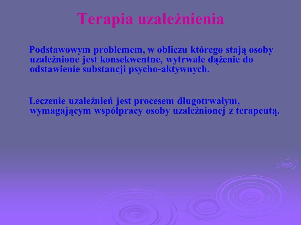 Terapia uzależnienia Podstawowym problemem, w obliczu którego stają osoby uzależnione jest konsekwentne, wytrwałe dążenie do odstawienie substancji ps