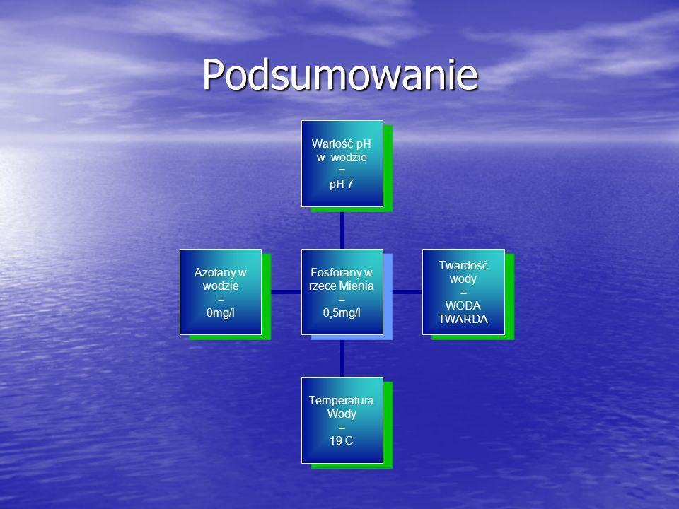 Podsumowanie Fosforany w rzece Mienia = 0,5mg/l Wartość pH w wodzie = pH 7 Twardość wody = WODA TWARDA Temperatura Wody = 19 C Azotany w wodzie = 0mg/
