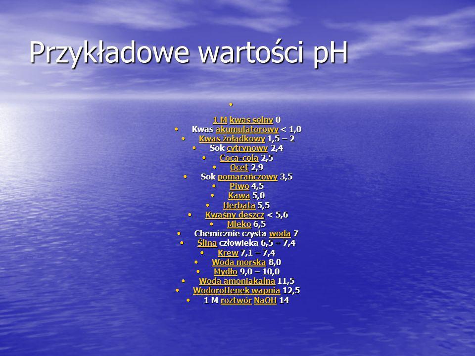 Przykładowe wartości pH 1 M kwas solny 0 1 M kwas solny 0 1 Mkwas solny 1 Mkwas solny Kwas akumulatorowy < 1,0 Kwas akumulatorowy < 1,0akumulatorowy K