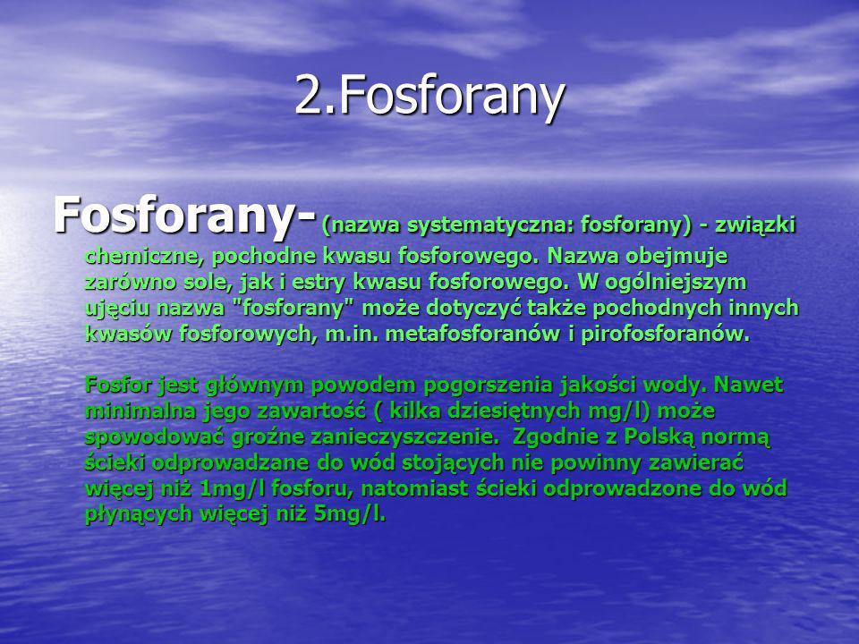 2.Fosforany Fosforany- (nazwa systematyczna: fosforany) - związki chemiczne, pochodne kwasu fosforowego. Nazwa obejmuje zarówno sole, jak i estry kwas