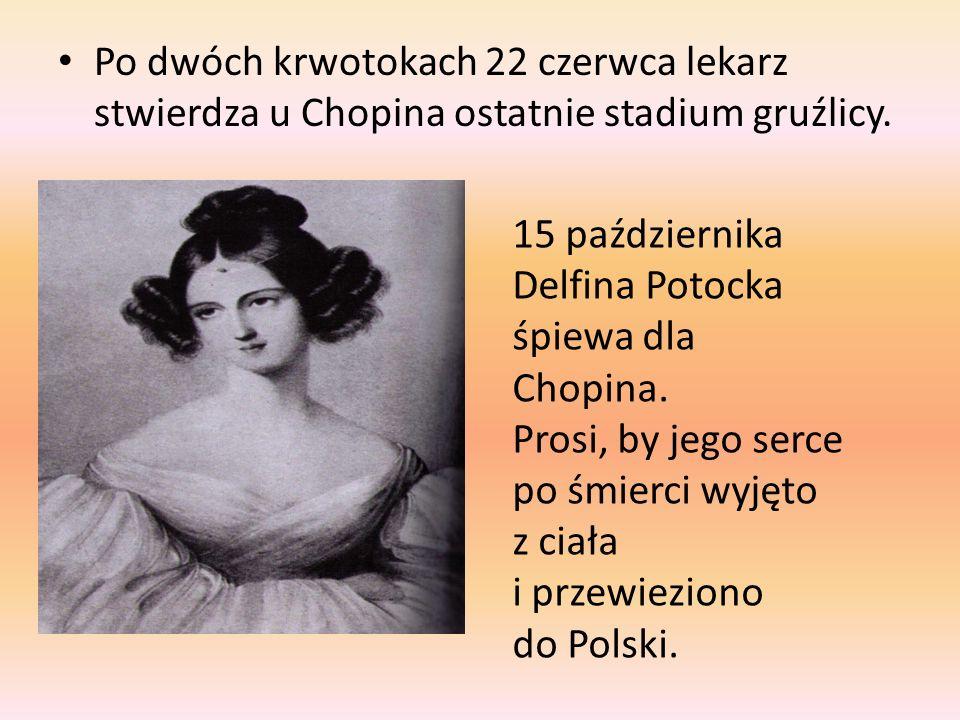 Po dwóch krwotokach 22 czerwca lekarz stwierdza u Chopina ostatnie stadium gruźlicy. 15 października Delfina Potocka śpiewa dla Chopina. Prosi, by jeg