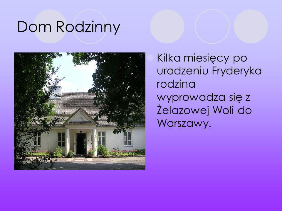 Dom Rodzinny Kilka miesięcy po urodzeniu Fryderyka rodzina wyprowadza się z Żelazowej Woli do Warszawy.
