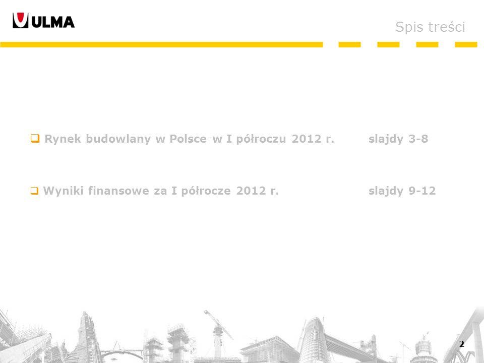 2 Rynek budowlany w Polsce w I półroczu 2012 r.slajdy 3-8 Wyniki finansowe za I półrocze 2012 r.slajdy 9-12 Spis treści