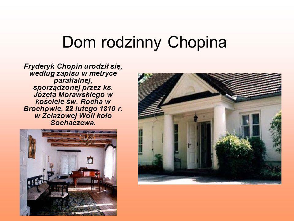 Dom rodzinny Chopina Fryderyk Chopin urodził się, według zapisu w metryce parafialnej, sporządzonej przez ks. Józefa Morawskiego w kościele św. Rocha
