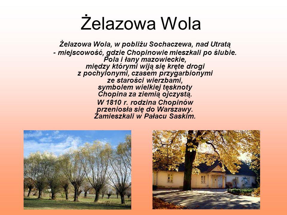 Żelazowa Wola Żelazowa Wola, w pobliżu Sochaczewa, nad Utratą - miejscowość, gdzie Chopinowie mieszkali po ślubie. Pola i łany mazowieckie, między któ
