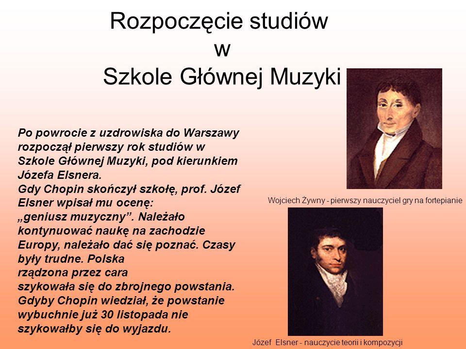 Rozpoczęcie studiów w Szkole Głównej Muzyki Po powrocie z uzdrowiska do Warszawy rozpoczął pierwszy rok studiów w Szkole Głównej Muzyki, pod kierunkie