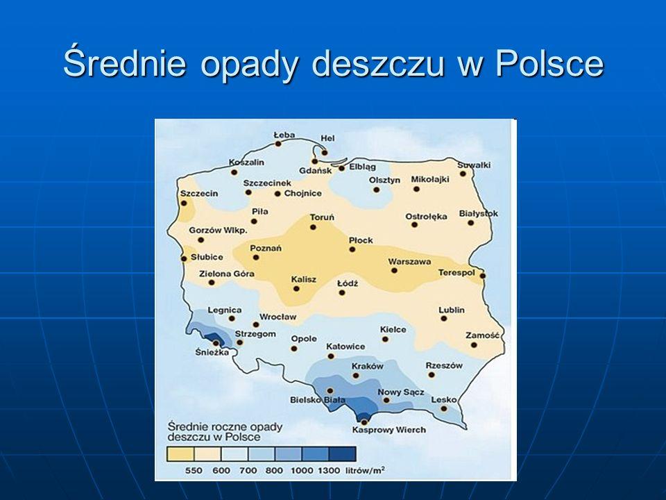 Średnie opady deszczu w Polsce