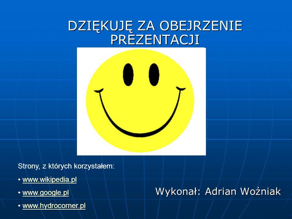 DZIĘKUJĘ ZA OBEJRZENIE PREZENTACJI Wykonał: Adrian Woźniak Strony, z których korzystałem: www.wikipedia.pl www.google.pl www.hydrocorner.pl
