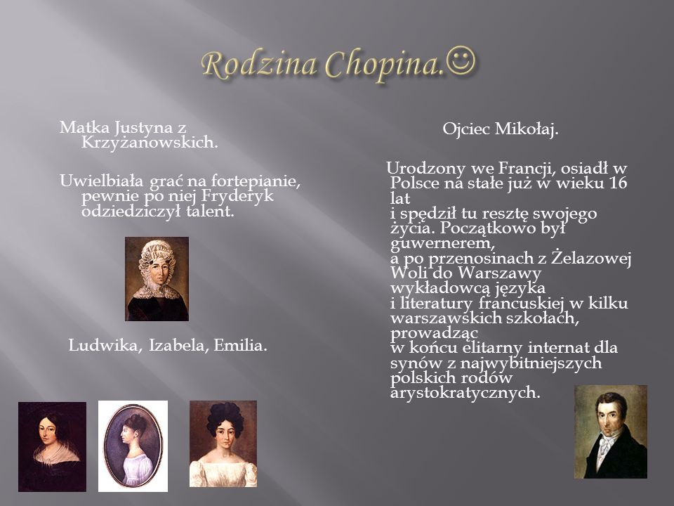 Matka Justyna z Krzyżanowskich. Uwielbiała grać na fortepianie, pewnie po niej Fryderyk odziedziczył talent. Ludwika, Izabela, Emilia. Ojciec Mikołaj.
