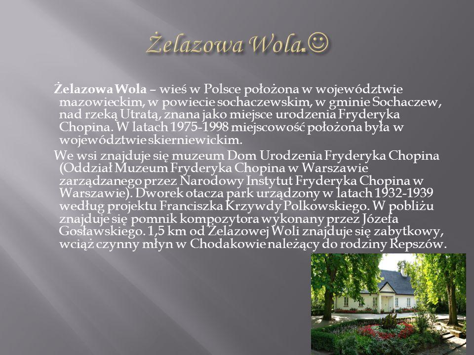 Żelazowa Wola – wieś w Polsce położona w województwie mazowieckim, w powiecie sochaczewskim, w gminie Sochaczew, nad rzeką Utratą, znana jako miejsce