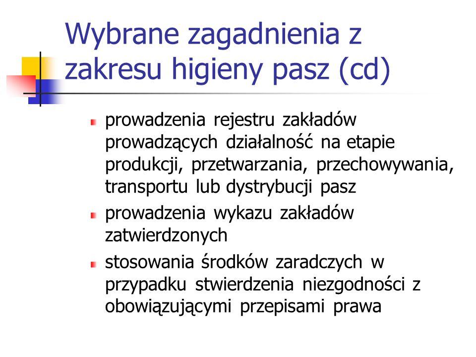 Wybrane zagadnienia z zakresu higieny pasz (cd) prowadzenia rejestru zakładów prowadzących działalność na etapie produkcji, przetwarzania, przechowywa