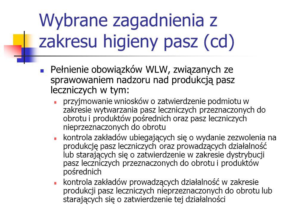 Wybrane zagadnienia z zakresu higieny pasz (cd) Pełnienie obowiązków WLW, związanych ze sprawowaniem nadzoru nad produkcją pasz leczniczych w tym: prz
