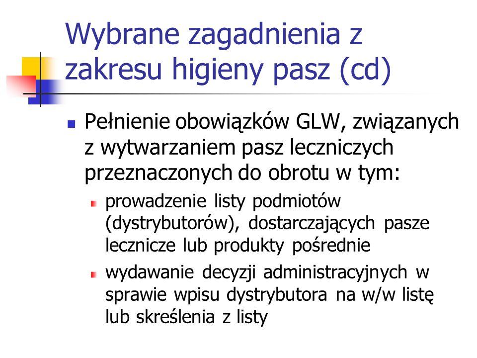 Wybrane zagadnienia z zakresu higieny pasz (cd) Pełnienie obowiązków GLW, związanych z wytwarzaniem pasz leczniczych przeznaczonych do obrotu w tym: p