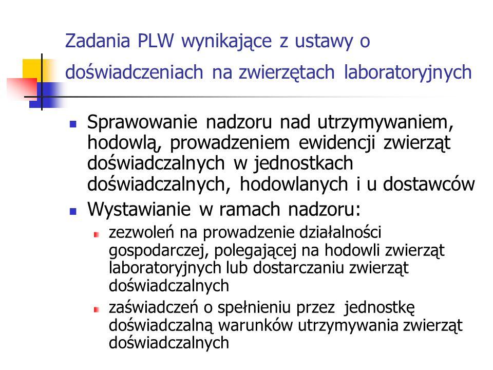 Zadania PLW wynikające z ustawy o doświadczeniach na zwierzętach laboratoryjnych Sprawowanie nadzoru nad utrzymywaniem, hodowlą, prowadzeniem ewidencj